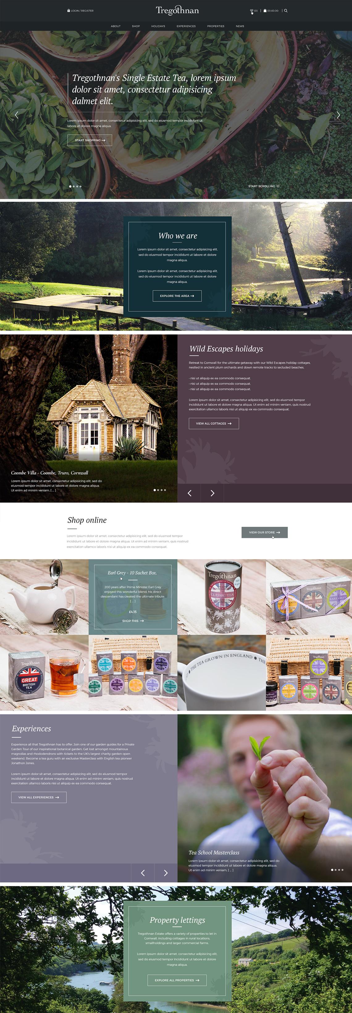 tregothnan full homepage showcase