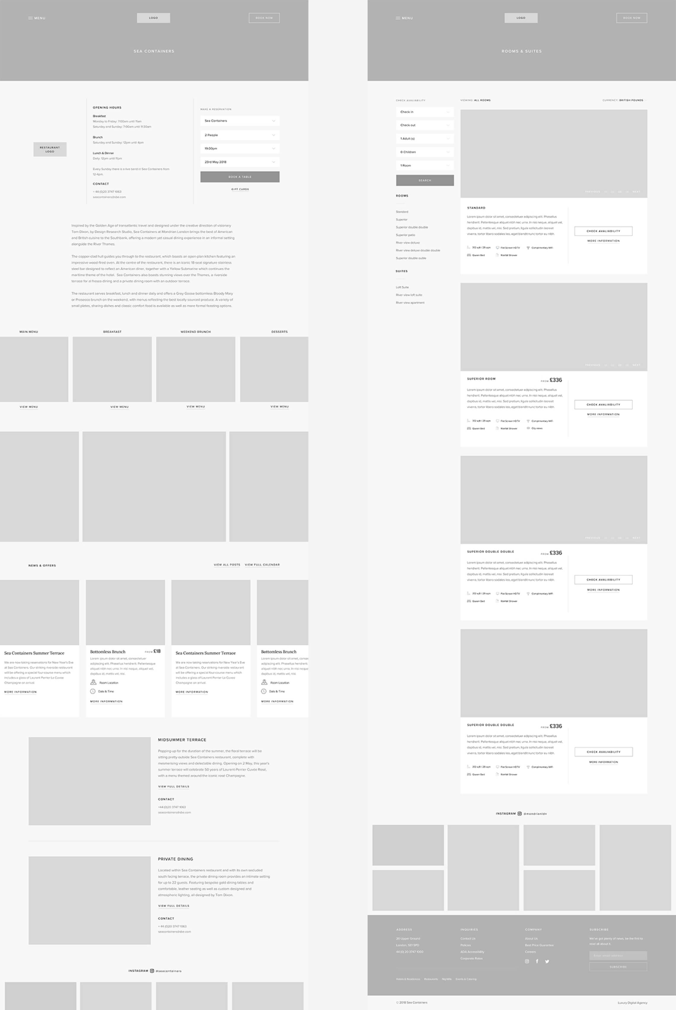 sea containers wireframe mockup